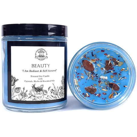 Beauty Affirmation Soy Candle with Mahogany Obsidian Crystals for Radiance, Confidence & Self-Esteem with Herbs & Essential Oils