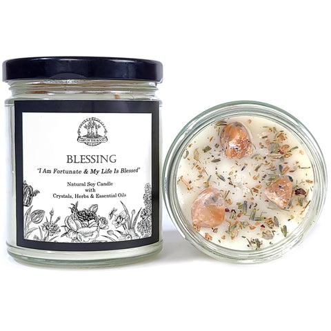 Blessing Affirmation Soy Candle with Sunstone Crystals & Herbs for Abundance, Good Fortune & Well-Being
