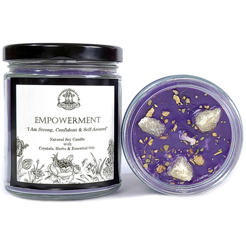 Empowerment Soy Affirmation Candle With  Orange Calcite Crystals for Confidence, Self-Esteem, Courage, Power & a Positive Self-Image