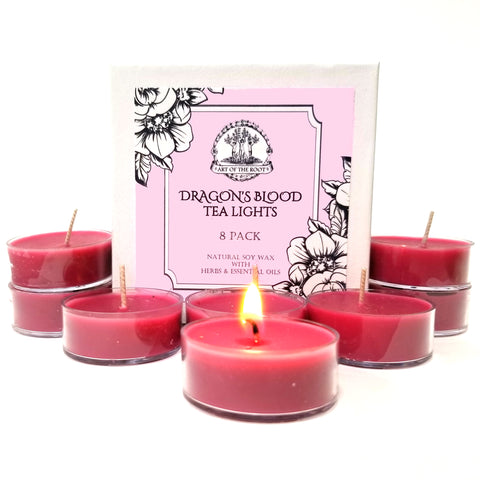 Dragon's Blood Soy Tea Light Candles for Power, Protection, Love & Passion