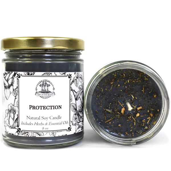 Protection Soy Candle for Negativity, Psychic Attacks & Evil Intentions Wiccan Pagan Hoodoo Conjure