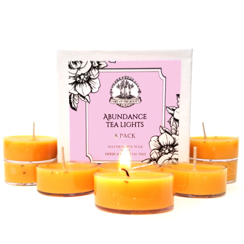 Abundance Tea Light Candles (8 Count) for Good Fortune, Success, Blessings & Prosperity