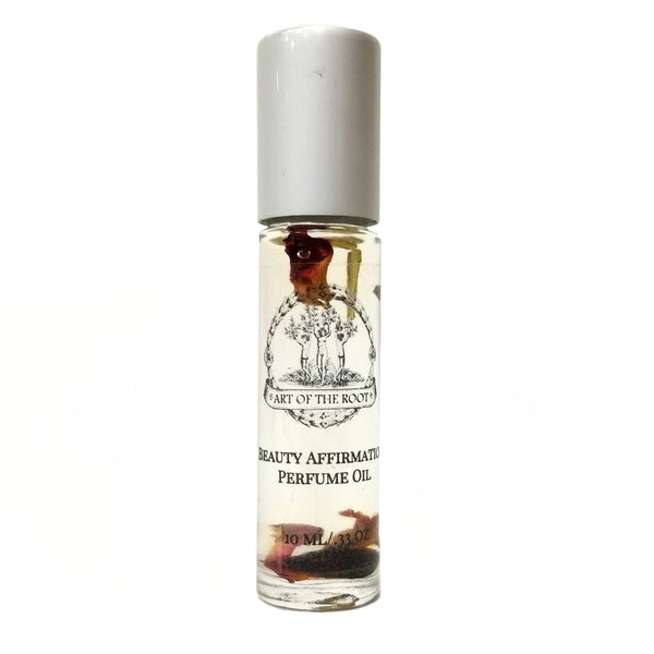 Beauty Affirmation Roll On Perfume Oil for Radiance, Confidence & Self-Esteem with Herbs & Essential Oils