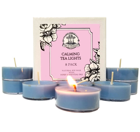 Calming Soy Tea Light Candles (8 Count) for Stress, Anxiety, Tension, Emotional Turmoil & Worry