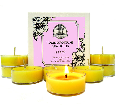 Fame & Fortune Soy Tea Light Candles for Beauty, Success, Wealth, Notoriety & Adoration