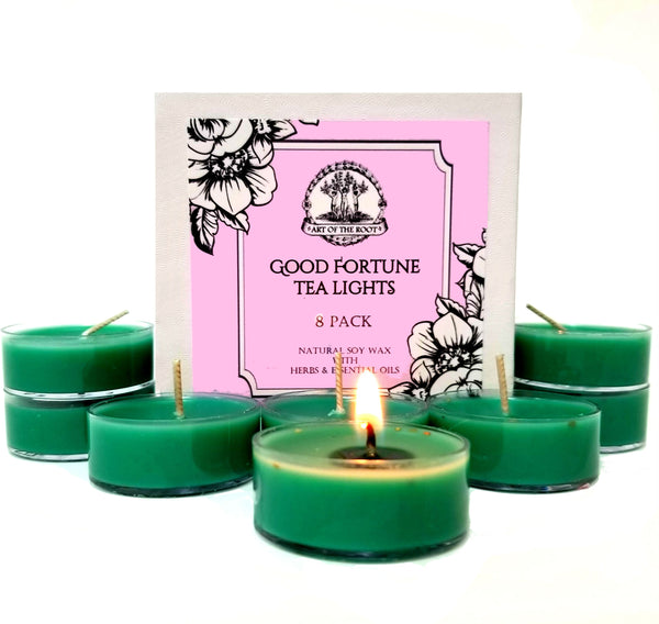 Good Fortune Soy Tea Light Candles  (8 Count) for Abundance, Prosperity, Luck, Blessings & Wishes