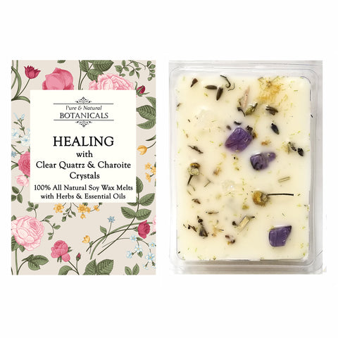 Healing Pure & All Natural Soy Wax Melts (2 Pack) with Herbs, Essential Oils, Clear Quartz and Charoite Crystals