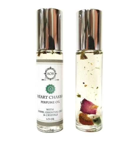 Heart Chakra Roll-On Perfume Oil (Anahata) with Crystals, Herbs & Essential Oils