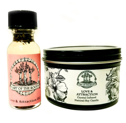 Love & Attraction Mini Spell Set with a 4 oz Crystal Infused Soy Candle and a 1/2 oz Oil