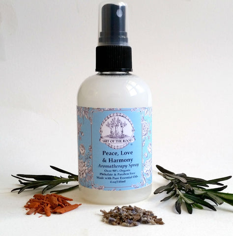 Peace, Love & Harmony Aromatherapy Spray. Over 90% Organic,Vegan & Phthalates and Paraben Free