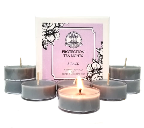 Protection Soy Tea Light Candles for Negativity, Psychic Attacks and Unwanted Energy