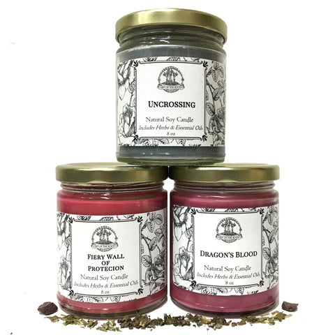 Uncrossing & Protection Soy Candle Set for Cleansing, Removing Negative Energy & Defense Magic