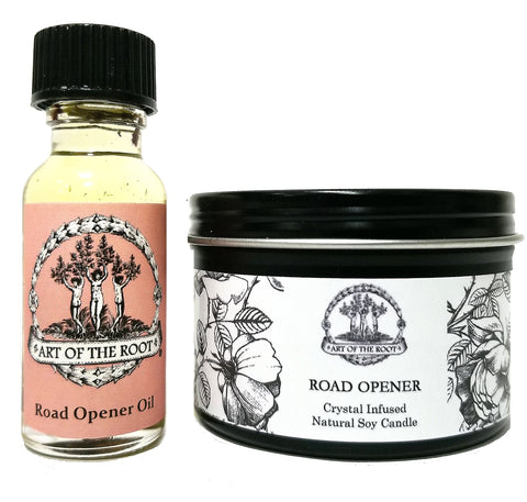 Road Opener Mini Spell Set with a 4 oz Crystal Infused Candle & 1/2 oz Conjure Oil