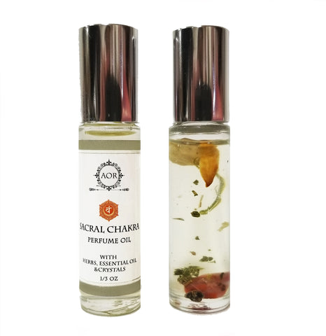 Sacral Chakra Roll On Perfume Oil with Crystals, Herbs & Essential Oils