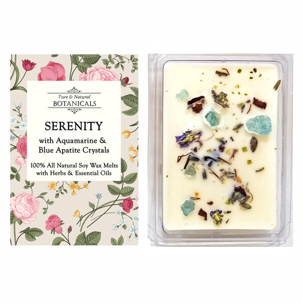 Serenity Pure & Natural Soy Wax Melts (2 Pack) with Crystals, Herbs & Essential Oils for Peace & Harmony