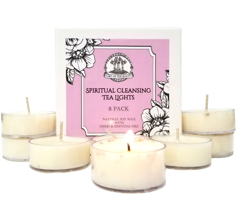 Spiritual Cleansing & Meditation Tea Light Candles for Purification, Clarity, Intuition & Wisdom