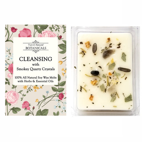 Cleansing Pure & All Natural Soy Wax Melts (2 Pack) with Herbs, Crystals & Essential Oils for Purification & Negativity