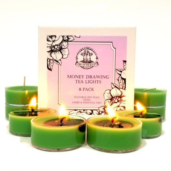 Money Drawing Soy Tea Light Candles (8 count) for Prosperity, Wealth, Cash & Financial Success