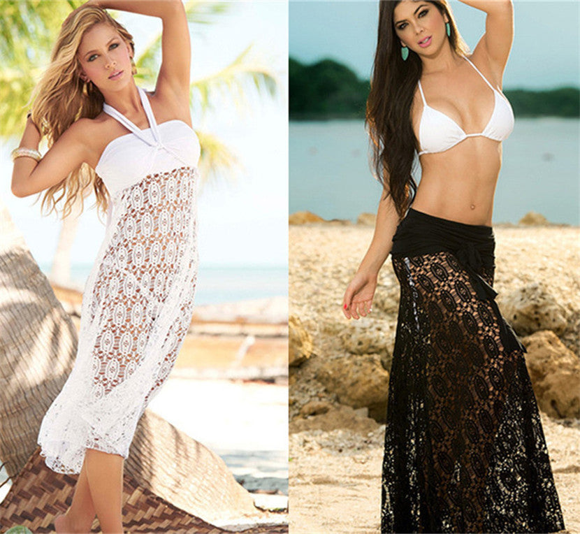 Free Shipping -- Solid Stylish Embroidered Halter Maxi Lace Cover Ups
