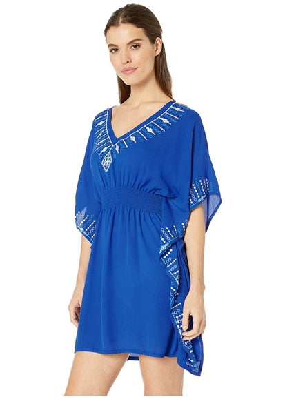 Free Shipping -- Blue Embroidered Elastic Waist Short Cover Ups