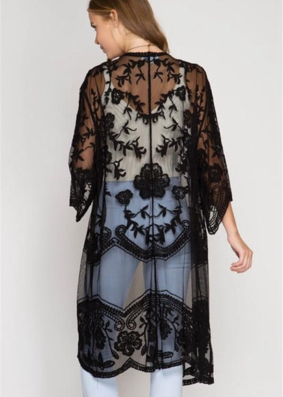 Free Shipping -- Pure Color 3/4 Sleeve Lace Maxi Cardigan Cover Ups
