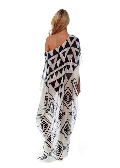 Free Shipping -- Color Block Triangle Print Chiffon Vintage Cover Ups
