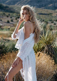 Free Shipping -- White Long Sleeve Cardigan Maxi Lace Cover Ups
