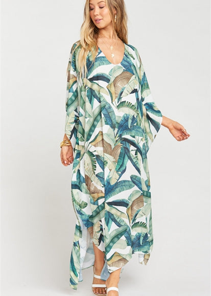 Free Shipping -- Leaf Print Long Sleeve V-Neck Maxi Vintage Cover Ups