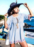 Free Shipping -- Beauty Cotton Embroidered Lace Up Short Cover Ups