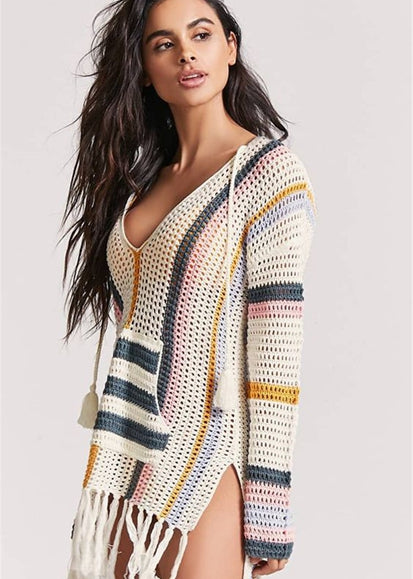 Free Shipping -- Color Block Long Sleeve Tassel Crochet Knitted Cover Ups