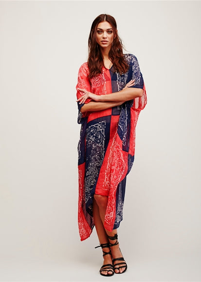 Free Shipping -- Red/Blue Color Block Print Short Sleeve Kaftan Vintage Cover Ups