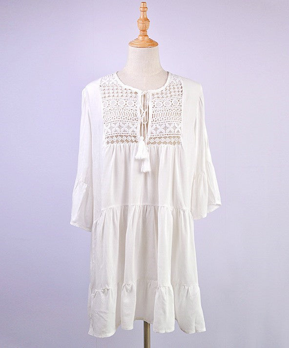 Free Shipping -- Lace Stitching Ruffled Off Shoulder Swimsuits Cover Ups
