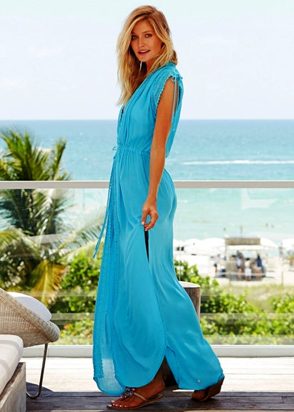Free Shipping -- Pure Mesh Lace Short Sleeve Maxi Cardigan Cover Ups