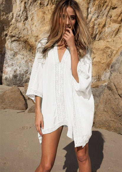 Free Shipping -- Pure Color Bat Sleeve With V-Neck Short Cover Ups
