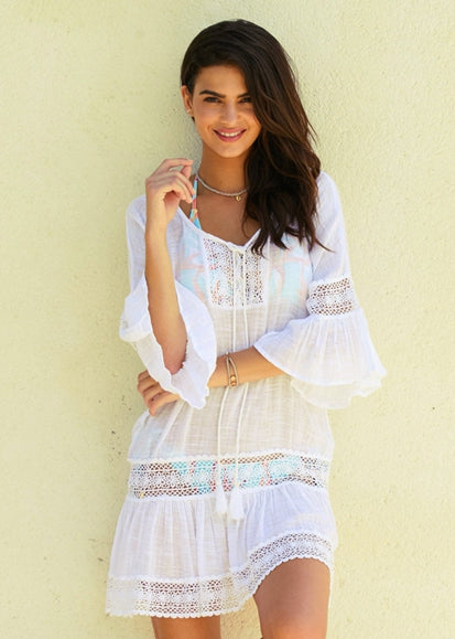 Free Shipping -- Women's Lace Flared Sleeves Color Matching Beach Dress bikini Cover Ups