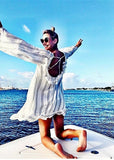 Free Shipping -- White Stripe Swimsuits Cover Ups Hollow Out in Back Long Sleeve Beach Dresses