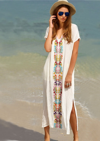 Free Shipping -- White V-Neck Short Sleeve Maxi Embroidered Cover Ups