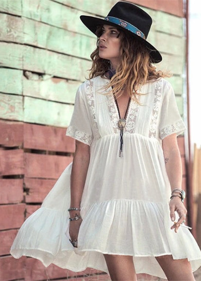 Free Shipping -- White Deep V-Neck Swimsuits Lace Short Cover Ups