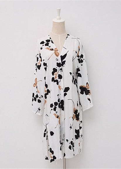 Free Shipping -- White/Black Floral Print Long Sleeve Cardigan Cover Ups