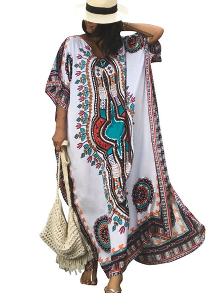 Free Shipping -- Vintage Boho Short Sleeve V-Neck Robe Loose Kaftan Cover Ups Maxi Long