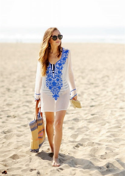 Free Shipping -- Sexy Floral Embroidered V-neck Long Sleeve Short Cover Ups