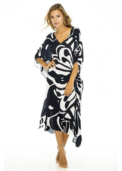 Free Shipping -- Black Butterfly Print V-Neck Loose Kaftan Vintage Cover Ups