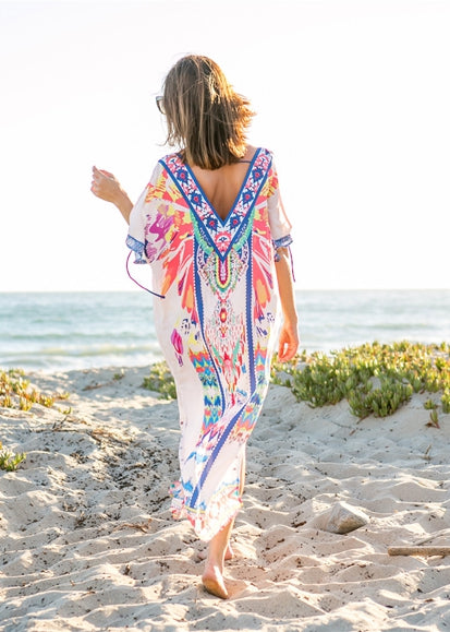 Free Shipping -- Vintage Floral Print Cross Front V-Neck Maxi Swimsuits Cover Ups
