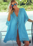Free Shipping -- Sexy Solid Chiffon Pleated Loose V-neck Swimsuits Lace Cover Ups