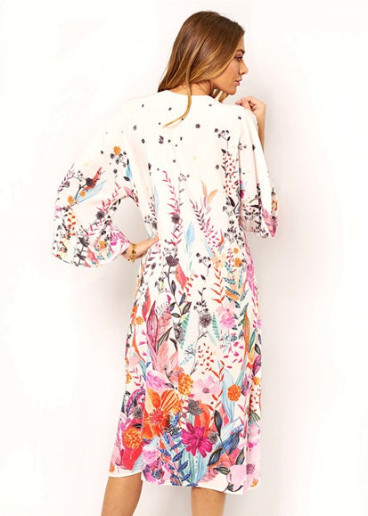 Free Shipping -- New Floral Print Long Sleeve Cardigan Cover Ups