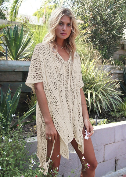 Free Shipping -- Sexy Solid Hollow Out V-Neck Beach Bikini Crochet Knitted Cover Ups