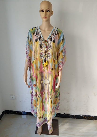 Free Shipping -- Colorful Snake Pattern V-Neck Chiffon Loose Swimsuits Vintage Cover Ups