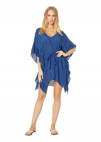 Free Shipping -- Solid Color Wrinkled Pleats On Both Side With V-Neck Short Cover Ups