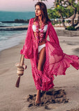 Free Shipping -- Chiffon Rose Red Dot Print Flared Sleeve Loose Swimsuits Cardigan Cover Ups