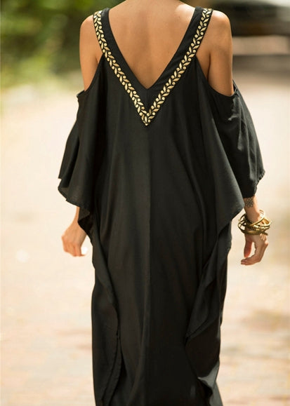 Free Shipping -- Black V-Neck Off Shoulder Maxi Embroidered Cover Ups
